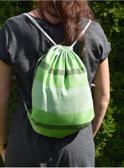 Plecak/Torba - Green Spring (paski) 100% bawełna, rozmiar 31cm x 43cm