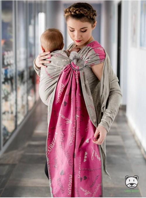 WORDS OF LOVE RING (pink) - 100% Bavlna, šatek typu ring sling, rozměr: 2, 1 m, žakárová vazba